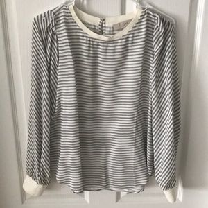 Loft Petite Small blue and white striped blouse